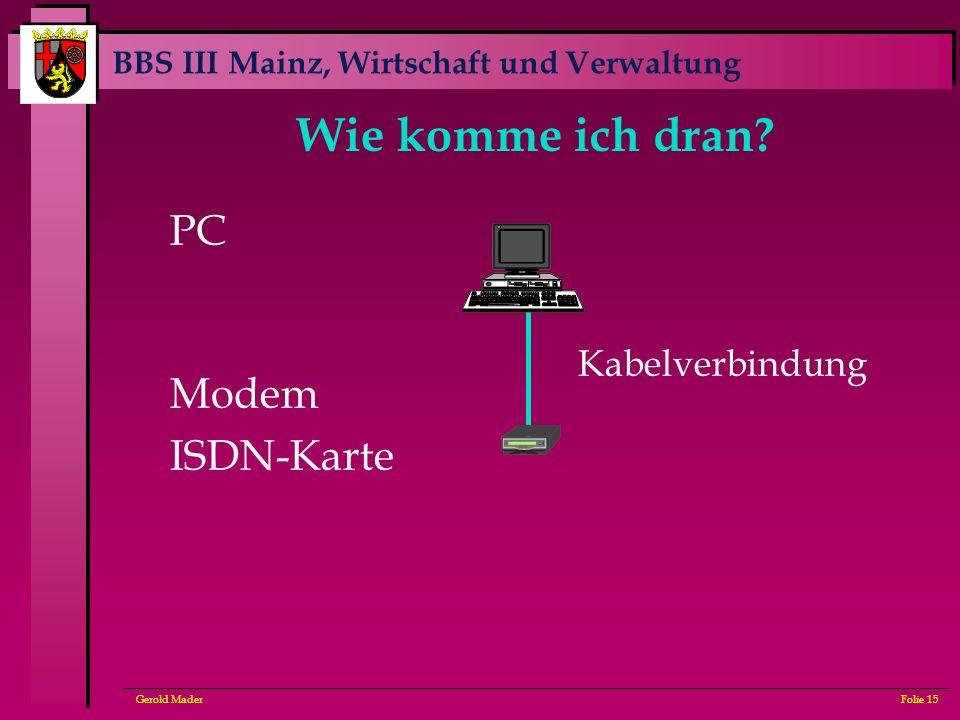 Wie komme ich dran PC Modem ISDN-Karte Kabelverbindung