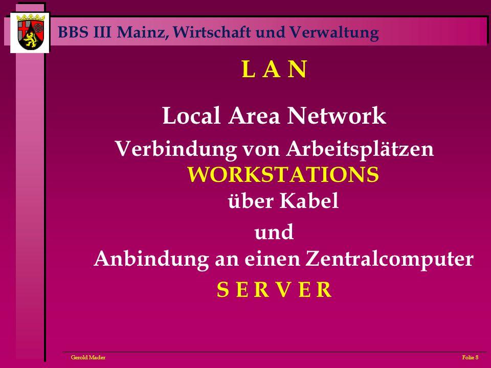 L A N Local Area Network. Verbindung von Arbeitsplätzen WORKSTATIONS über Kabel. und Anbindung an einen Zentralcomputer.