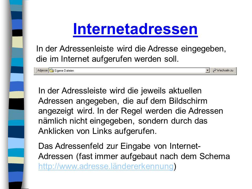 Internetadressen In der Adressenleiste wird die Adresse eingegeben, die im Internet aufgerufen werden soll.