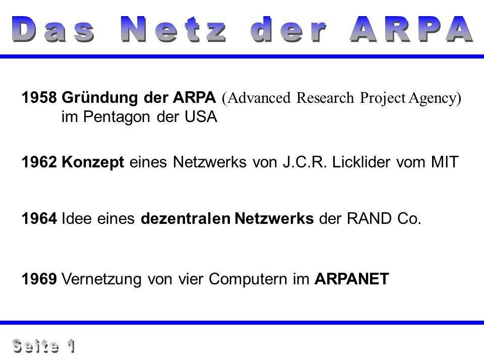 Das Netz der ARPA 1958 Gründung der ARPA (Advanced Research Project Agency) im Pentagon der USA.