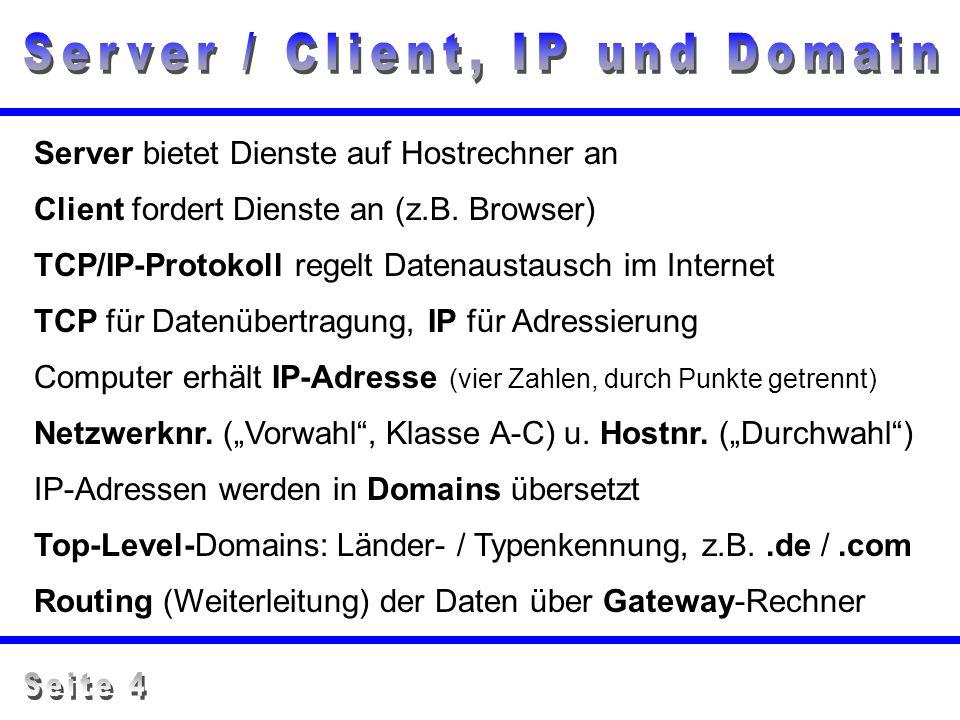 Server / Client, IP und Domain