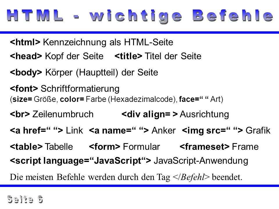 HTML - wichtige Befehle