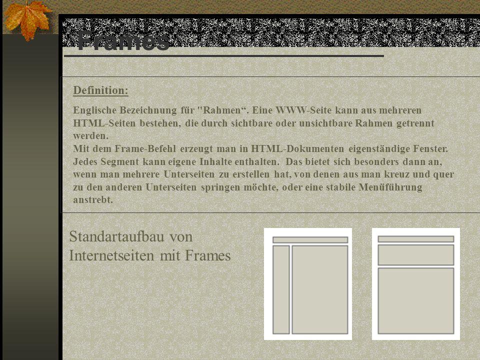 Frames Standartaufbau von Internetseiten mit Frames Definition: