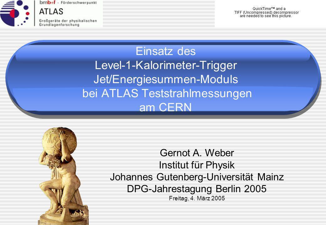 Einsatz des Level-1-Kalorimeter-Trigger Jet/Energiesummen-Moduls bei ATLAS Teststrahlmessungen am CERN