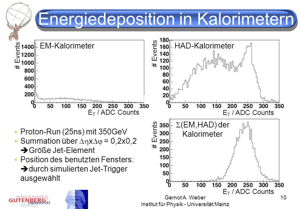 Energiedeposition in Kalorimetern