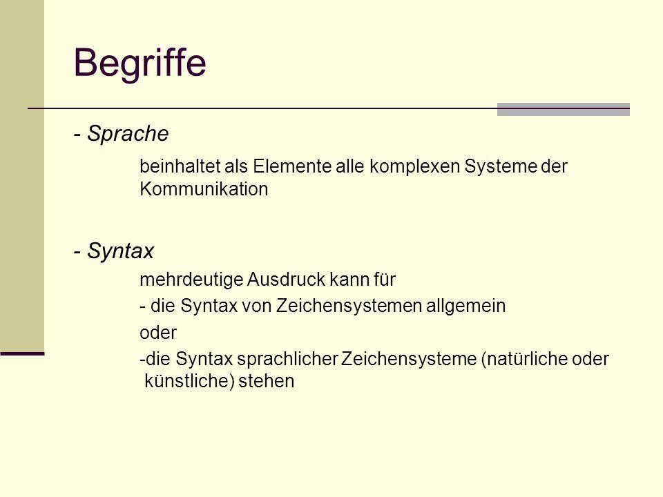Begriffe - Sprache. beinhaltet als Elemente alle komplexen Systeme der Kommunikation. - Syntax. mehrdeutige Ausdruck kann für.