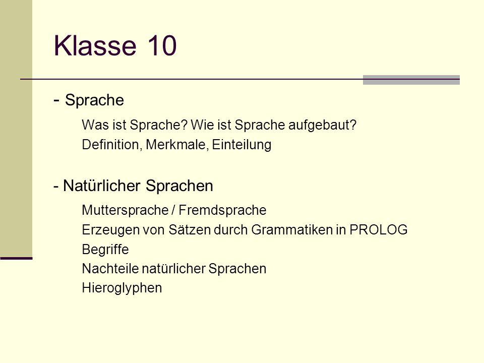 Klasse 10 - Sprache Was ist Sprache Wie ist Sprache aufgebaut