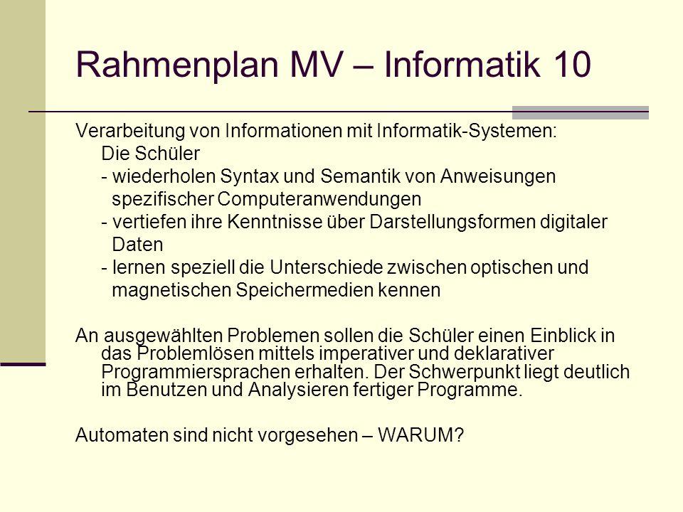 Rahmenplan MV – Informatik 10