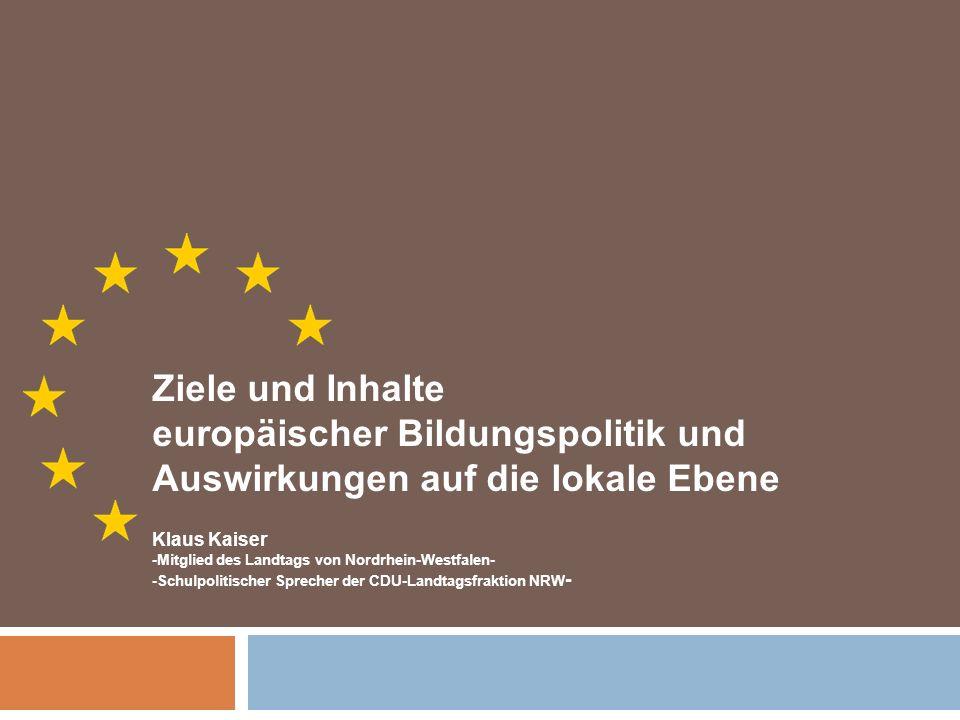 europäischer Bildungspolitik und Auswirkungen auf die lokale Ebene