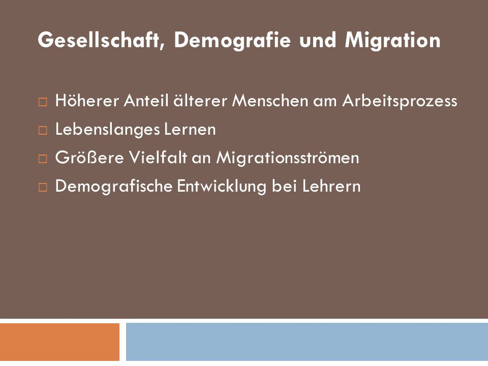 Gesellschaft, Demografie und Migration
