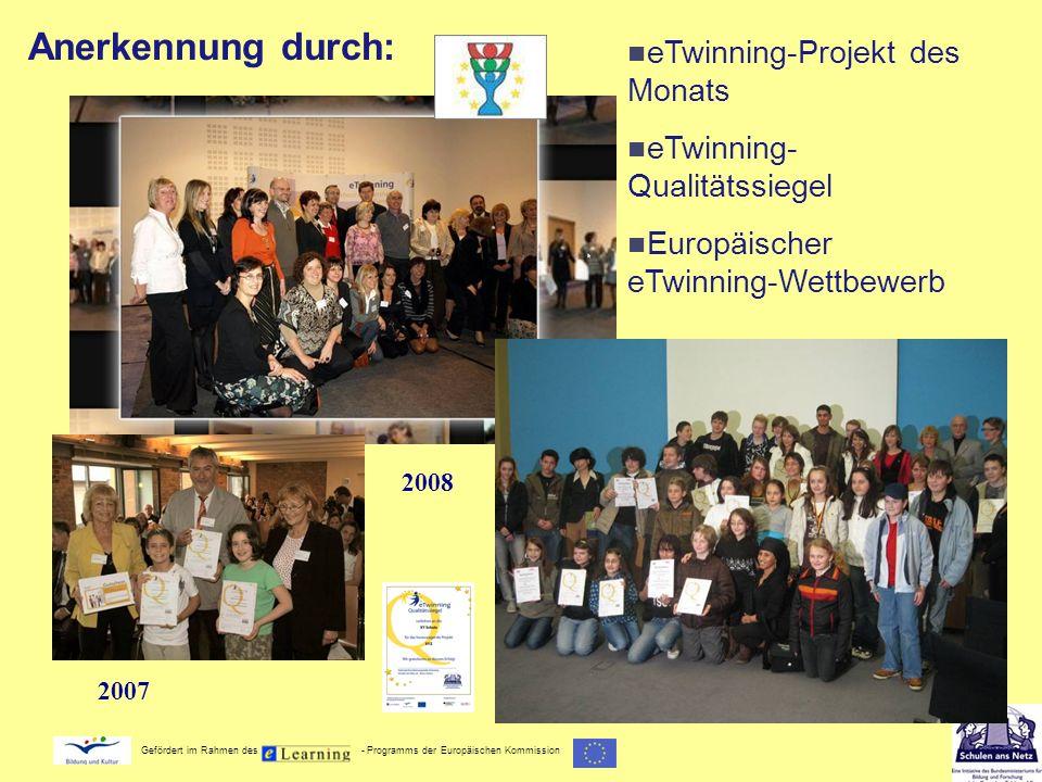Anerkennung durch: eTwinning-Projekt des Monats