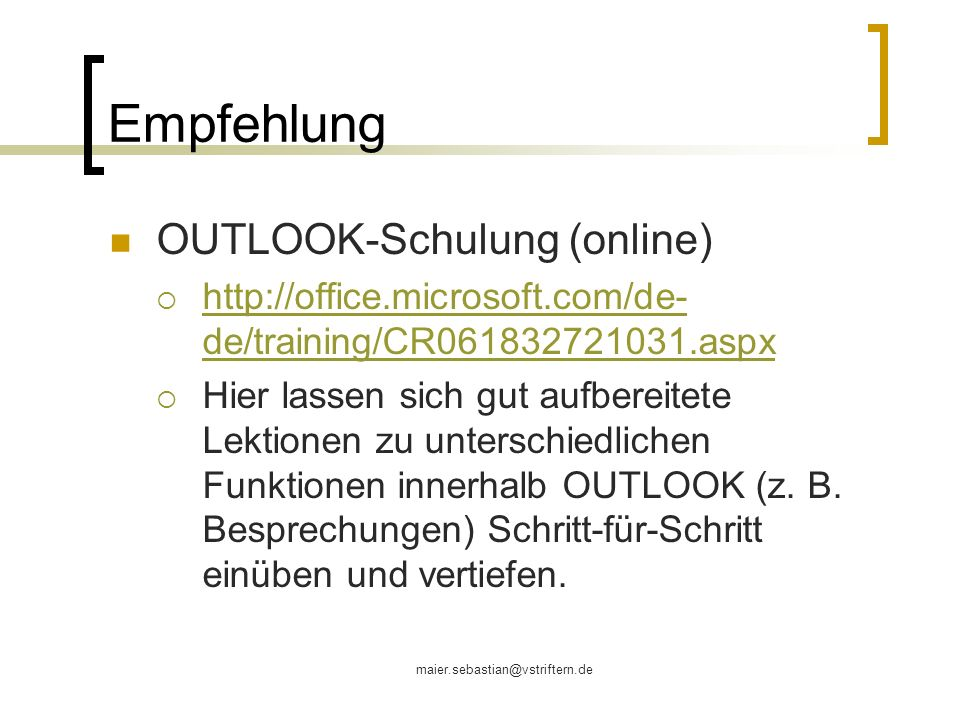 Empfehlung OUTLOOK-Schulung (online)