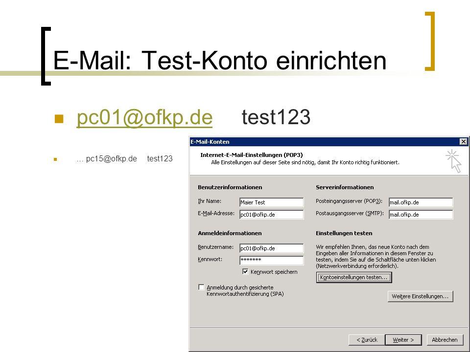 E-Mail: Test-Konto einrichten