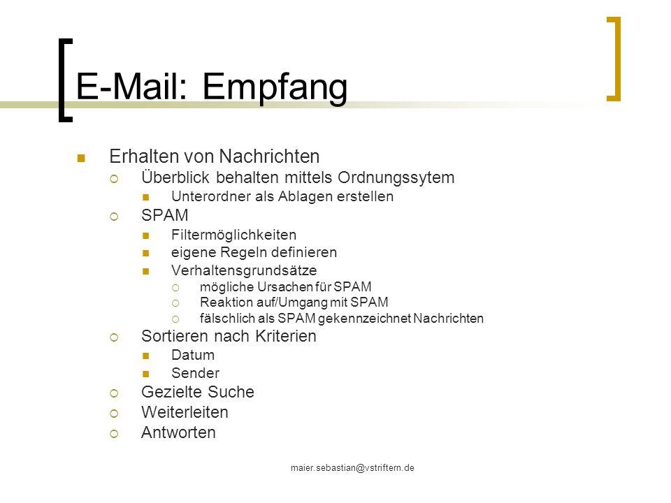 E-Mail: Empfang Erhalten von Nachrichten
