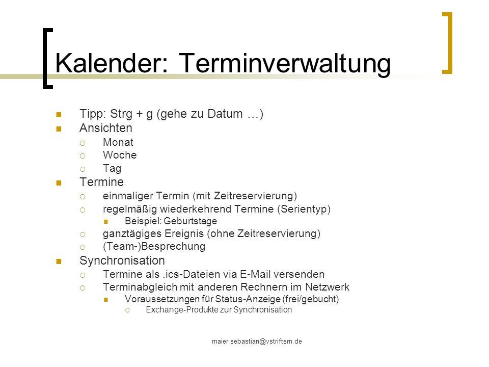 Kalender: Terminverwaltung