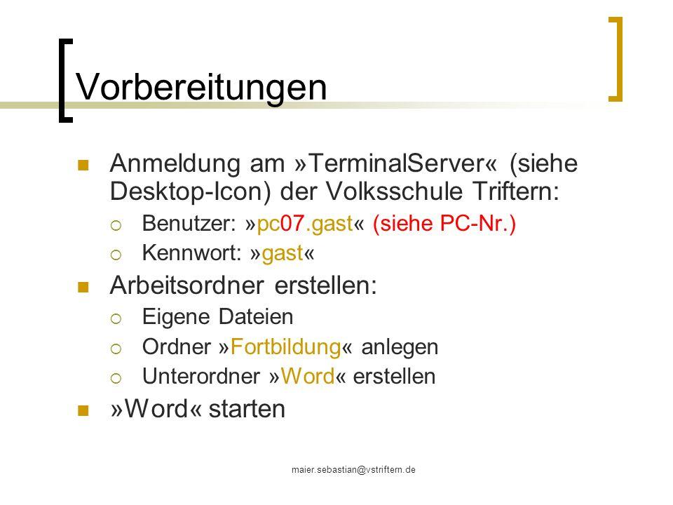 Vorbereitungen Anmeldung am »TerminalServer« (siehe Desktop-Icon) der Volksschule Triftern: Benutzer: »pc07.gast« (siehe PC-Nr.)