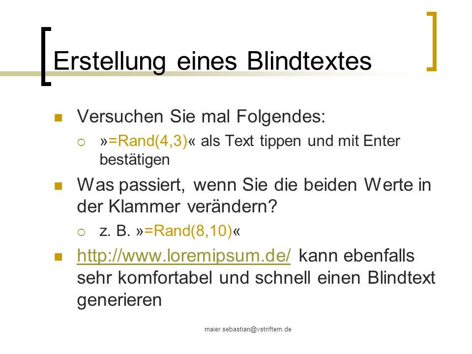 Erstellung eines Blindtextes