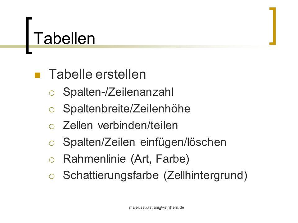 Tabellen Tabelle erstellen Spalten-/Zeilenanzahl