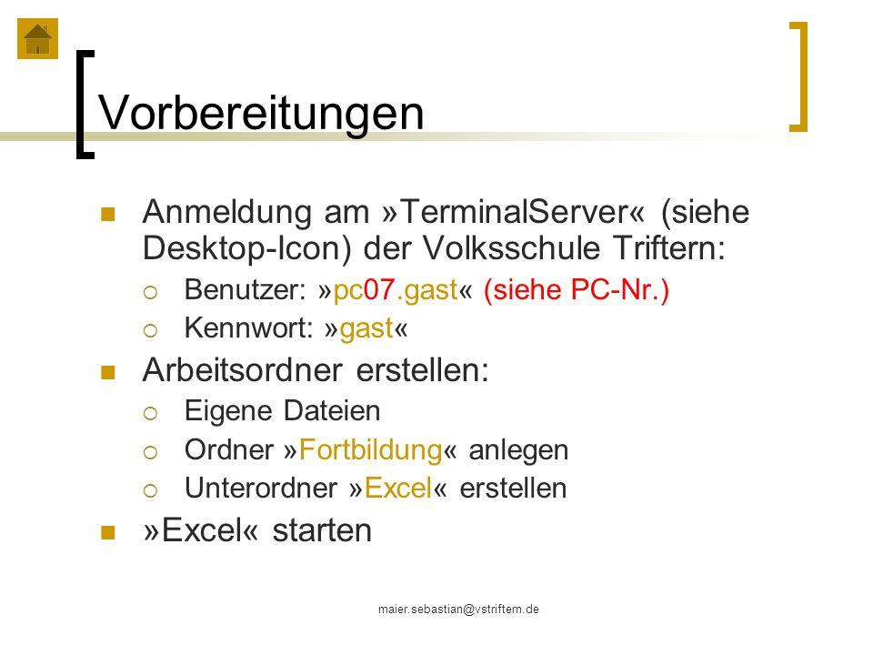 VorbereitungenAnmeldung am »TerminalServer« (siehe Desktop-Icon) der Volksschule Triftern: Benutzer: »pc07.gast« (siehe PC-Nr.)