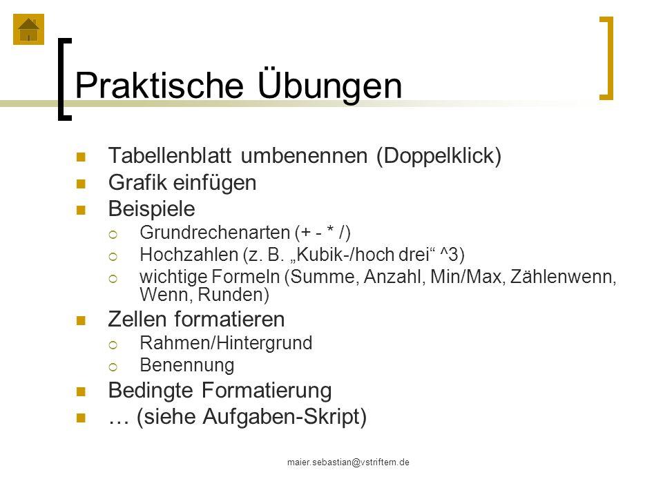 Praktische Übungen Tabellenblatt umbenennen (Doppelklick)