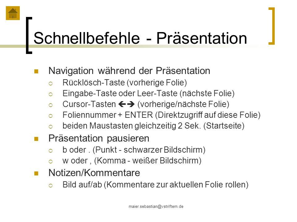 Schnellbefehle - Präsentation