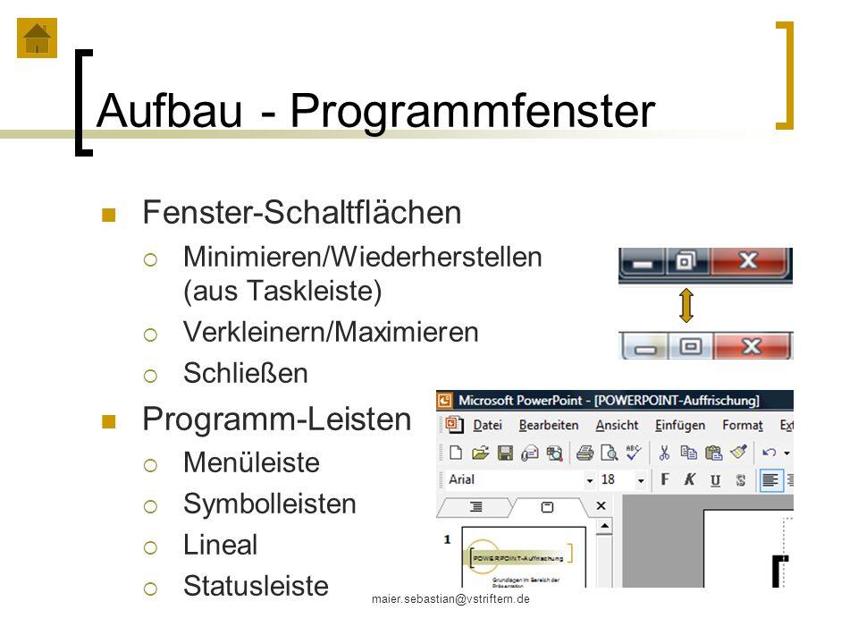 Aufbau - Programmfenster