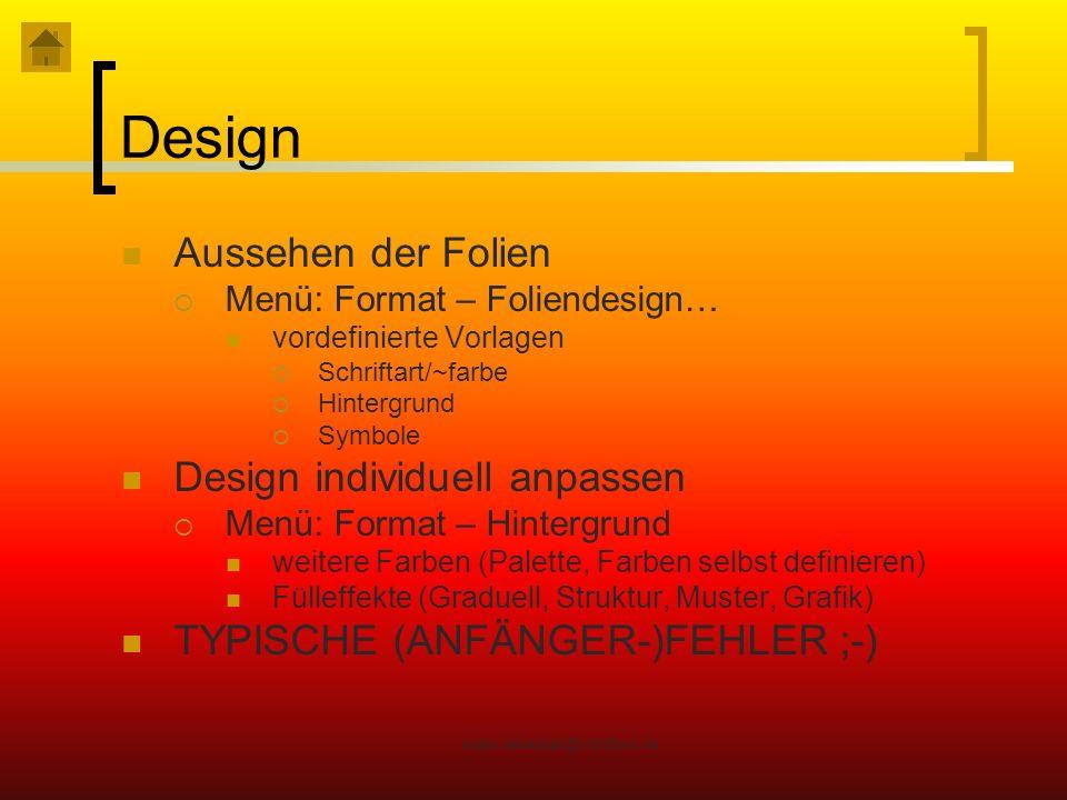 Design Aussehen der Folien Design individuell anpassen
