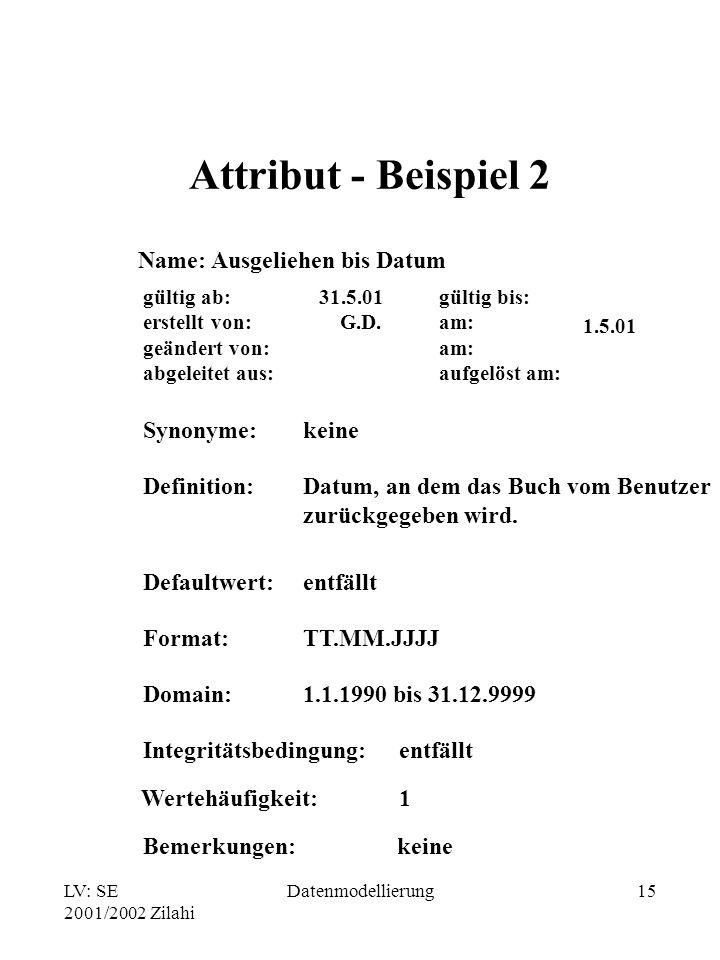 Attribut - Beispiel 2 Name: Ausgeliehen bis Datum Synonyme: keine
