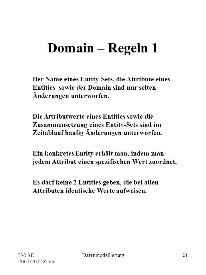 Domain – Regeln 1 Der Name eines Entity-Sets, die Attribute eines Entities sowie der Domain sind nur selten Änderungen unterworfen.