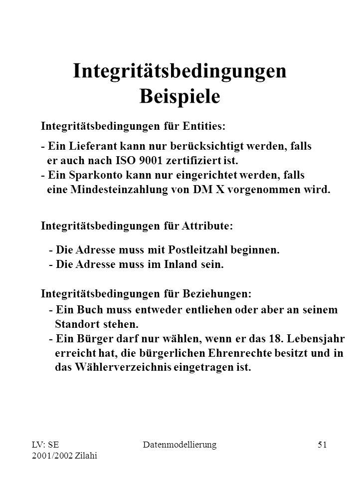 Integritätsbedingungen Beispiele