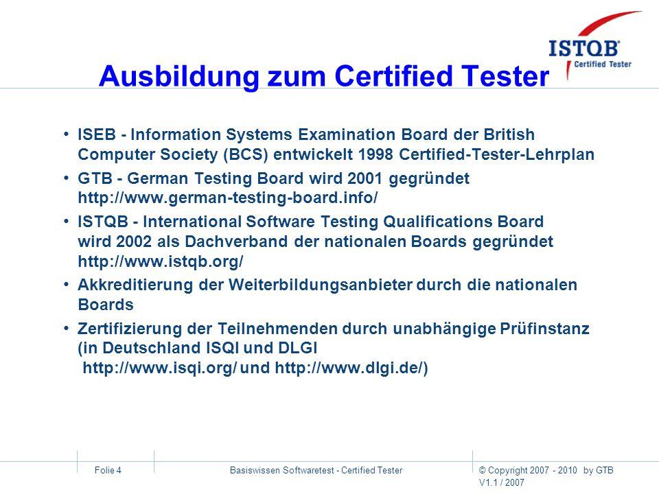 Ausbildung zum Certified Tester