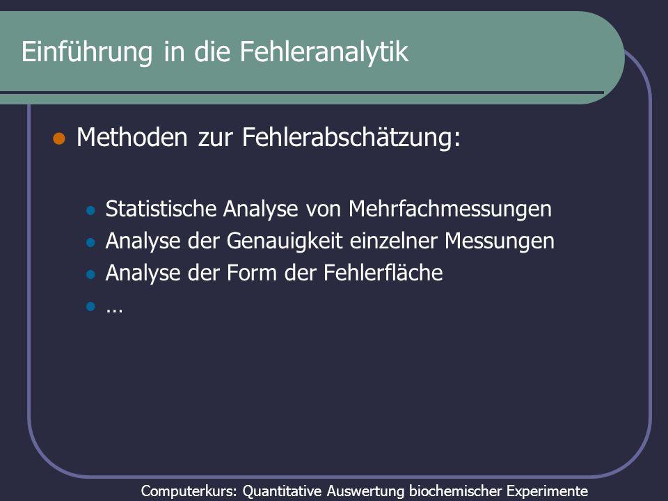 Einführung in die Fehleranalytik