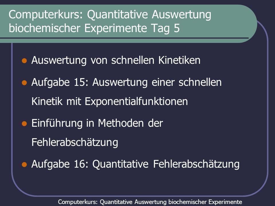 Computerkurs: Quantitative Auswertung biochemischer Experimente Tag 5