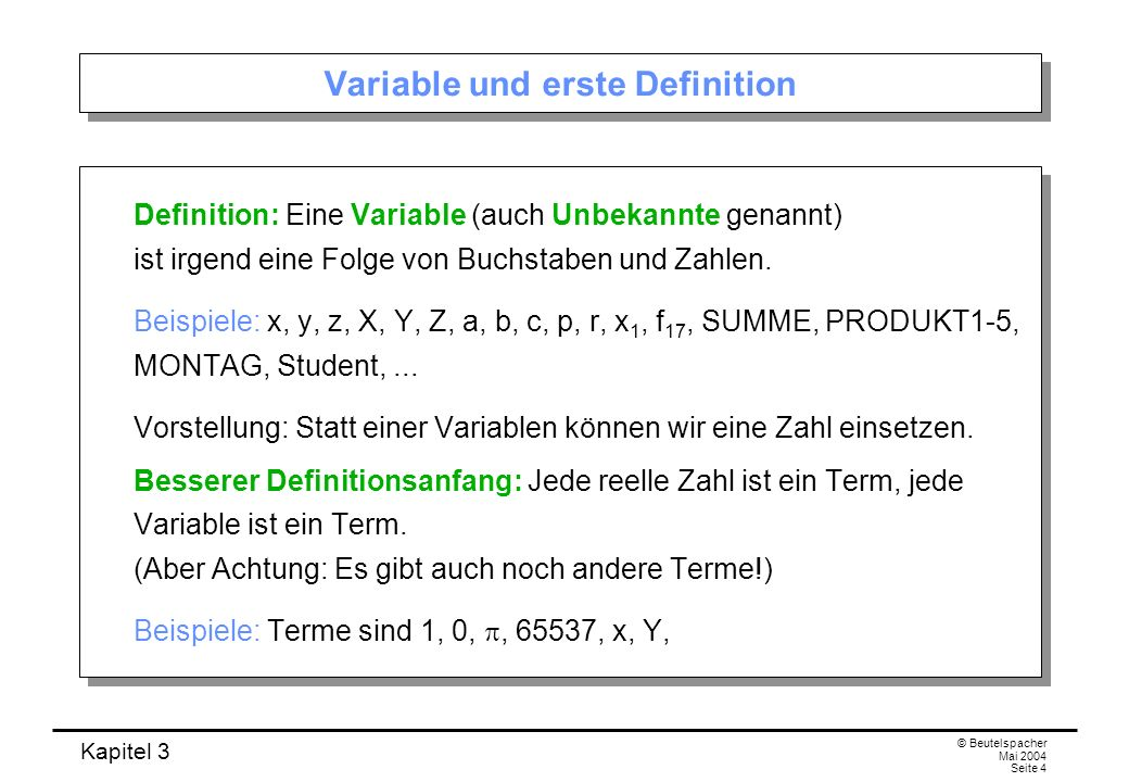Variable und erste Definition