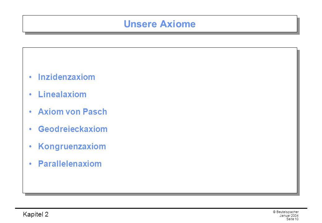 Unsere Axiome Inzidenzaxiom Linealaxiom Axiom von Pasch