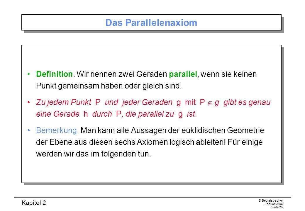 Das Parallelenaxiom Definition. Wir nennen zwei Geraden parallel, wenn sie keinen Punkt gemeinsam haben oder gleich sind.