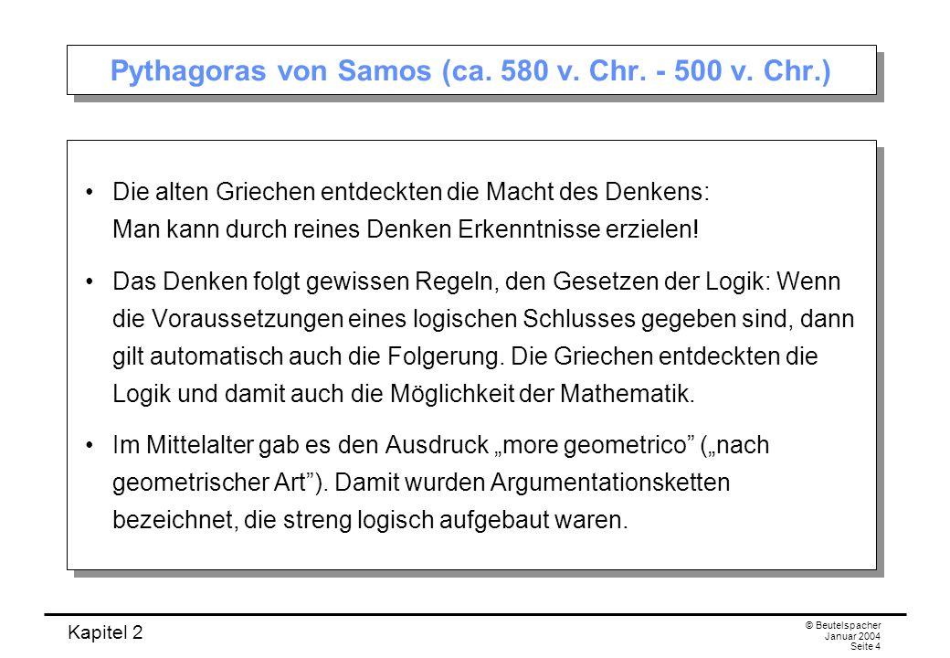 Pythagoras von Samos (ca. 580 v. Chr. - 500 v. Chr.)