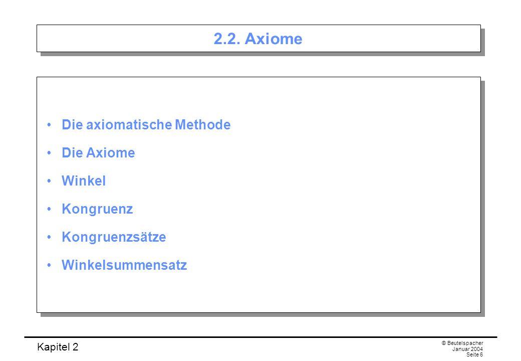2.2. Axiome Die axiomatische Methode Die Axiome Winkel Kongruenz