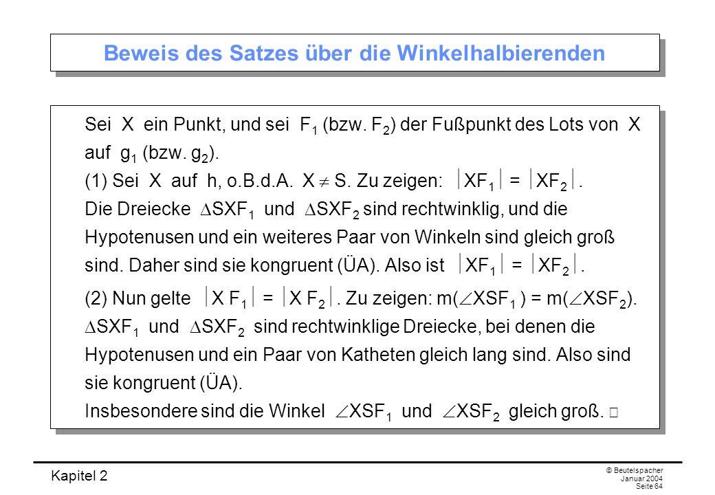 Beweis des Satzes über die Winkelhalbierenden