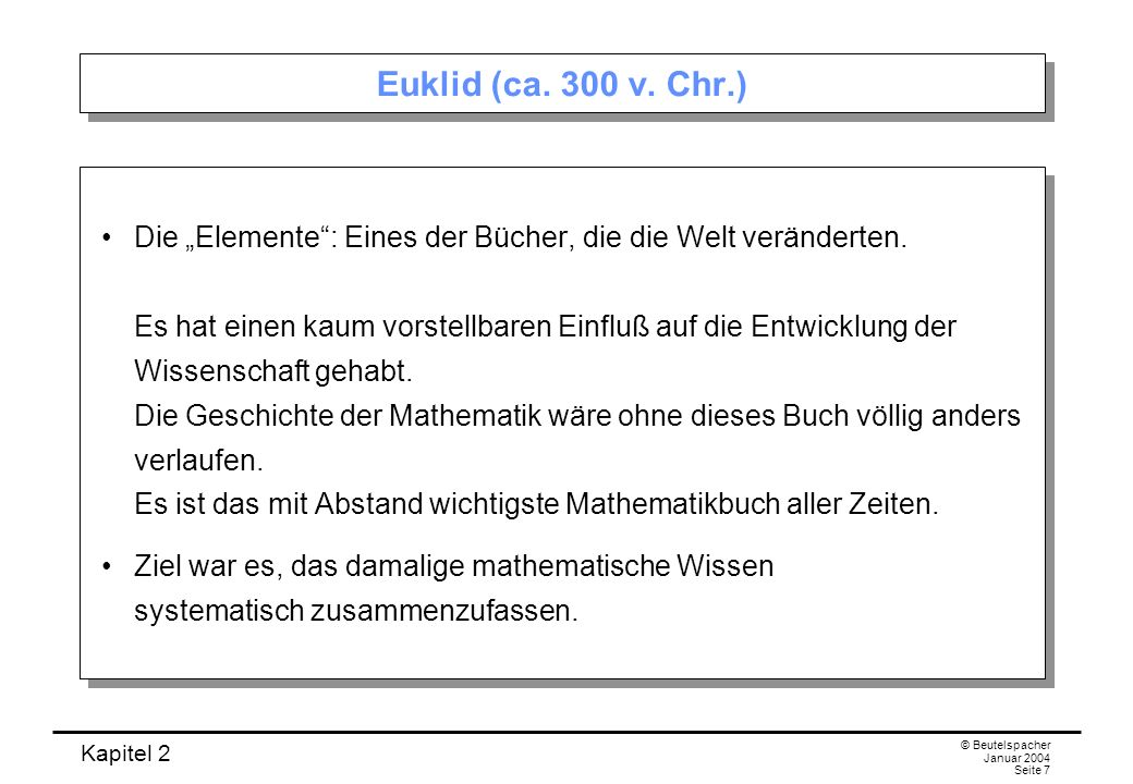 Euklid (ca. 300 v. Chr.)