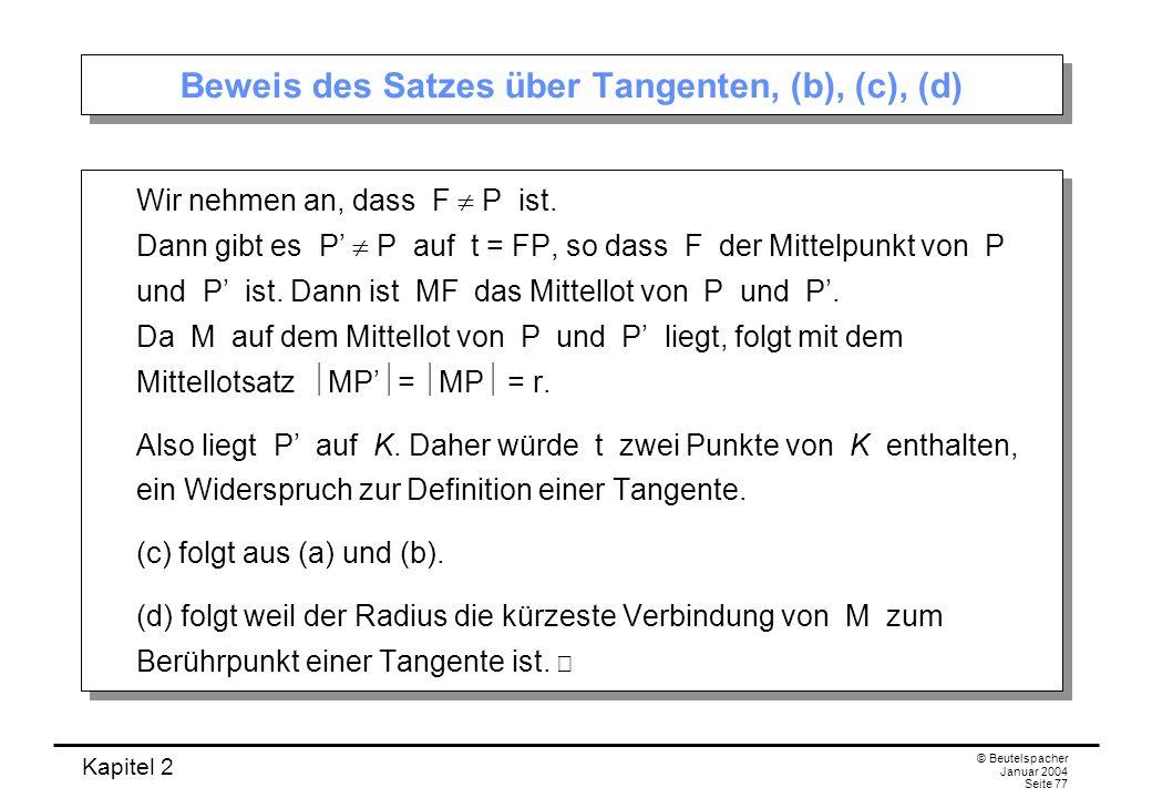 Beweis des Satzes über Tangenten, (b), (c), (d)