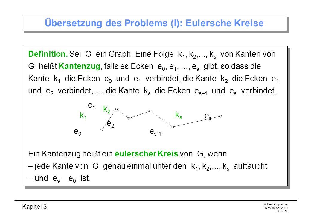 Übersetzung des Problems (I): Eulersche Kreise