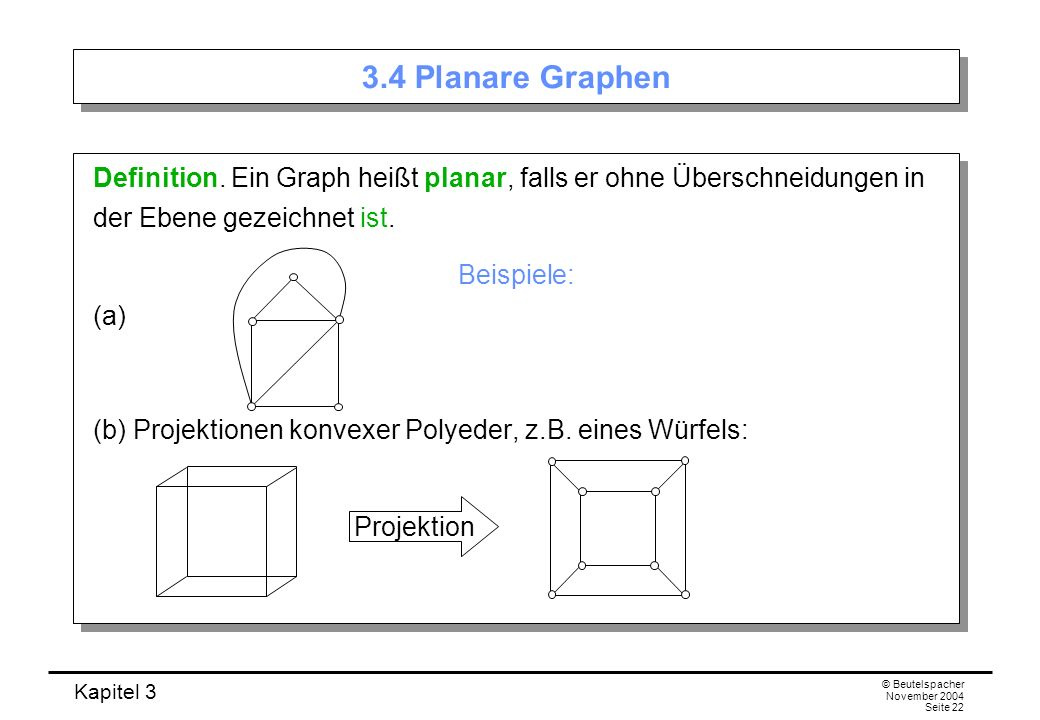 3.4 Planare Graphen Definition. Ein Graph heißt planar, falls er ohne Überschneidungen in der Ebene gezeichnet ist.