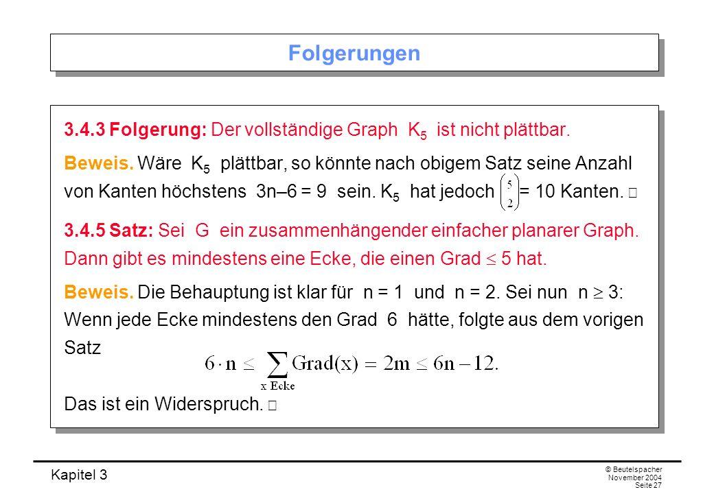 Folgerungen 3.4.3 Folgerung: Der vollständige Graph K5 ist nicht plättbar.