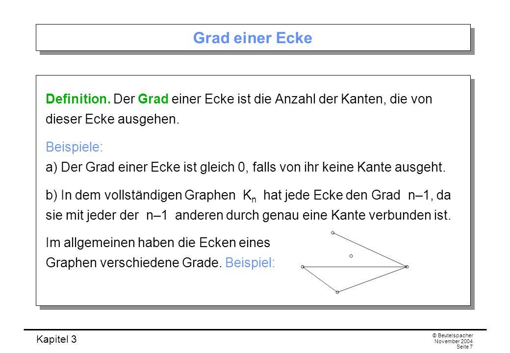 Grad einer Ecke Definition. Der Grad einer Ecke ist die Anzahl der Kanten, die von dieser Ecke ausgehen.