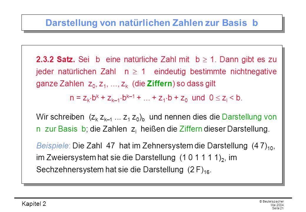 Darstellung von natürlichen Zahlen zur Basis b