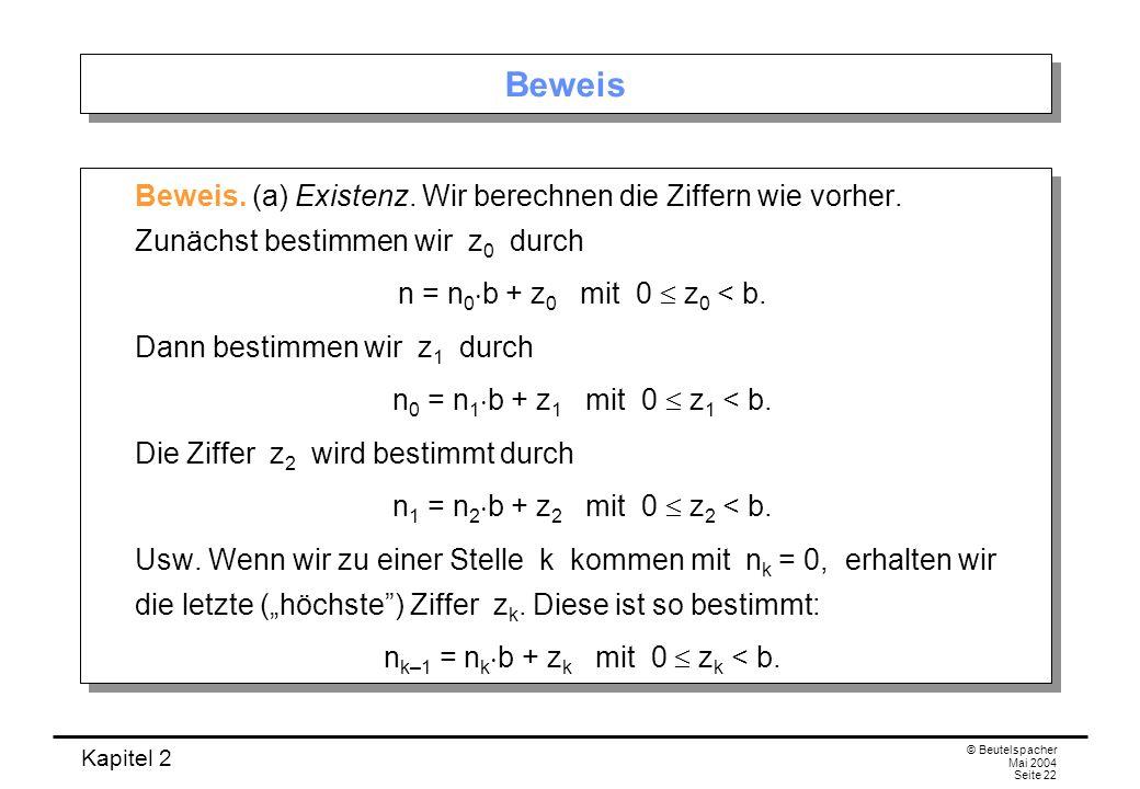 nk–1 = nkb + zk mit 0  zk < b.