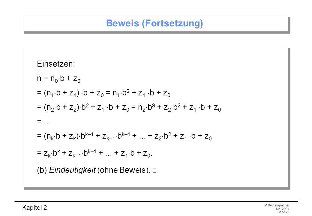 Beweis (Fortsetzung) Einsetzen: n = n0b + z0