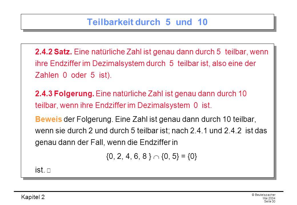 Teilbarkeit durch 5 und 10