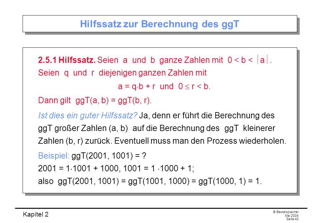 Hilfssatz zur Berechnung des ggT